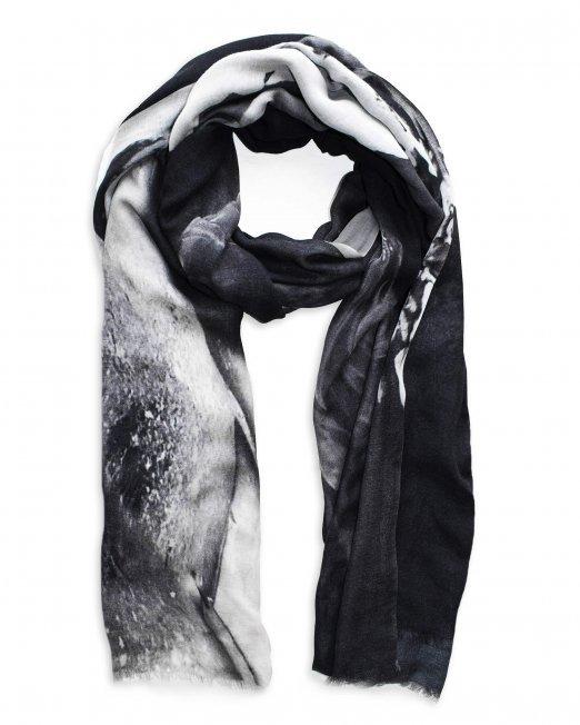 thundra scarf black white print BJORNE of Norway 01 (1) (1)